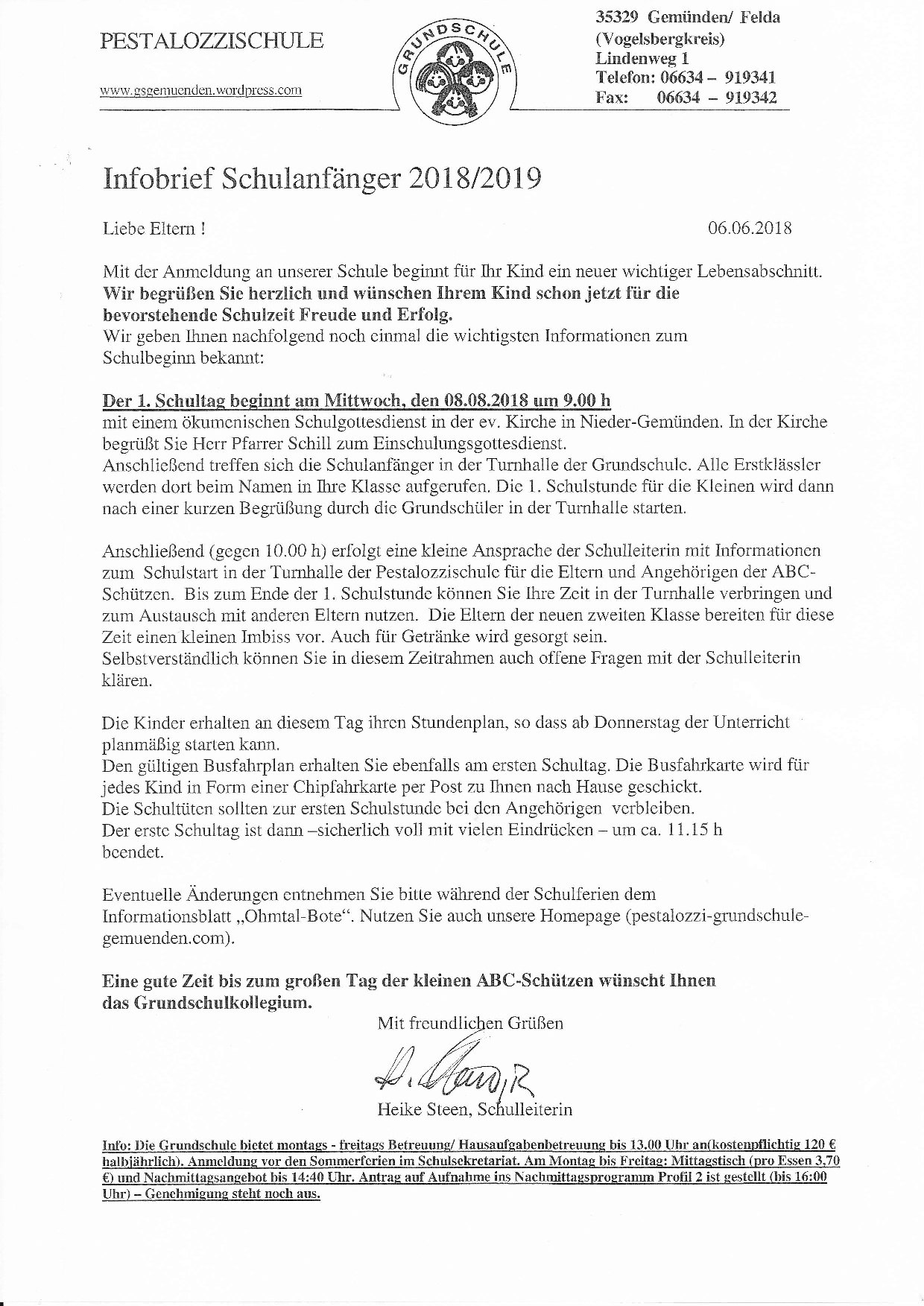 Infobrief Schulanf. 2018