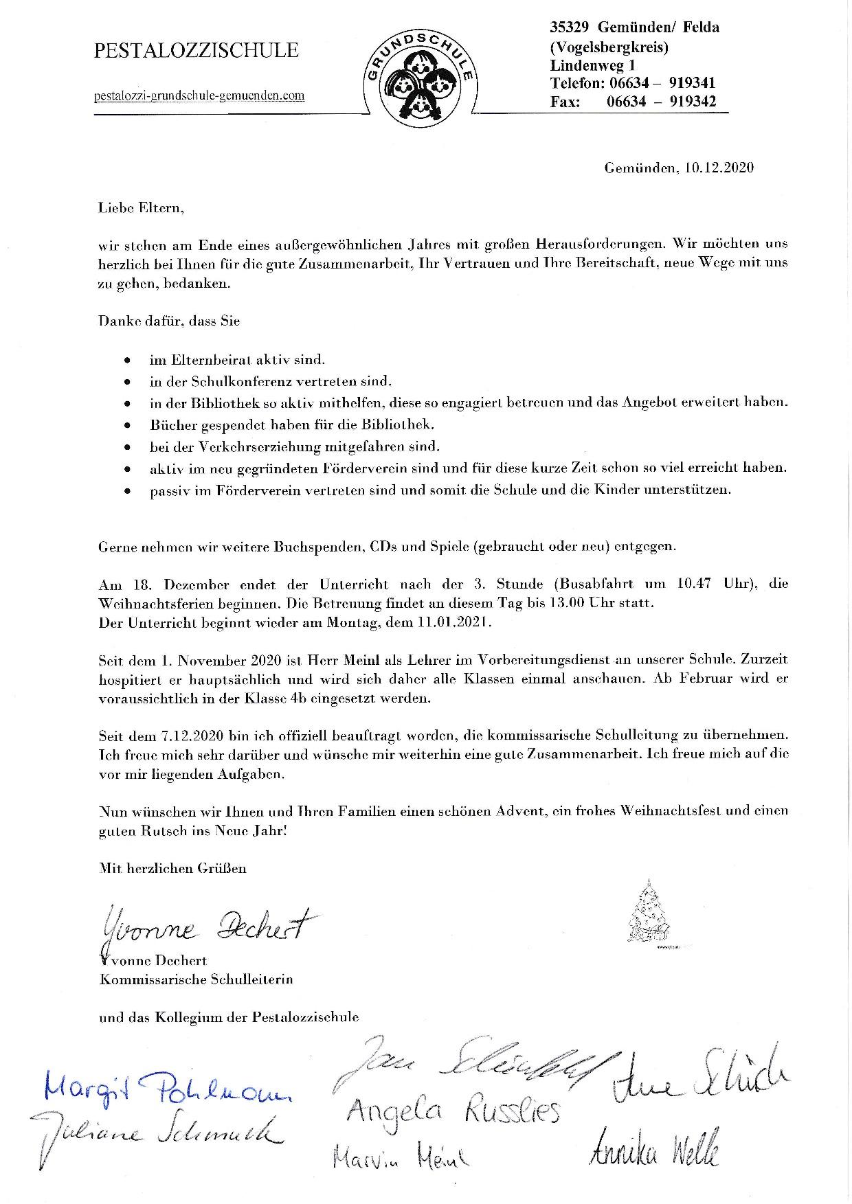 Elternbrief Weihnachten 2020